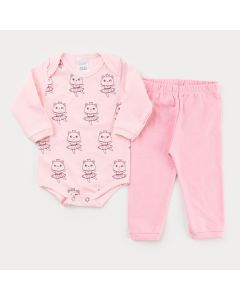 Conjunto de Inverno para Menina Body Manga Longa Rosa Urso e Calça Rosa