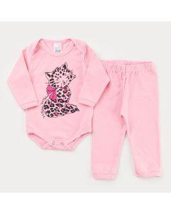 Conjunto de Inverno Rosa para Bebê Menina Body Manga Longa Tigre e Calça Básica