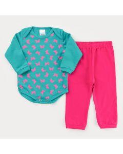 Conjunto de Frio para Bebê Menina Calça Pink e Body Verde Borboleta