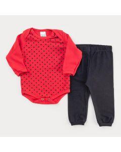 Conjunto de Frio Bebê Menina Body Vermelho Bolinhas e Calça Preta
