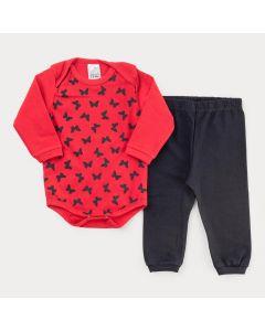 Conjunto de Frio para Bebê Menina Body Vermelho Borboleta e Calça Preta