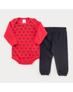 Conjunto de Frio para Bebê Menina Body Vermelho Coração e Calça Preta