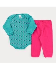 Conjunto de Inverno para Bebê Menina Body Manga Longa Verde Bolinhas e Calça Pink