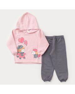 Conjunto de Moletom para Bebê Menina Casaco com Capuz Rosa Cachorrinho e Calça Cinza