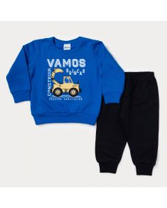 Conjunto de Inverno Bebê Masculino Calça Preta e Blusa Azul em Moletom