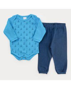 Conjunto de Frio para Bebê Menino Body Azul Âncora e Calça Marinho