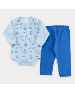 Conjunto de Inverno Bebê Menino Body Manga Longa Azul Estampado e Calça Azul