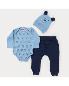Conjunto de Frio Bebê Menino Body Azul com Touca de Ursinho e Calça Marinho