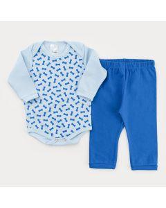 Conjunto com Calça Azul Básica e Bodu Manga Longa Azul Ossinho para Bebê Menino