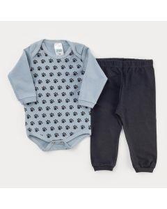 Conjunto de Inverno para Bebê Menino Body Manga Longa Cinza Patinhas e Calça Preta