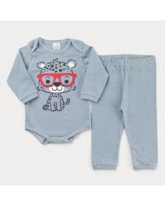 Conjunto de Inverno para Bebê Menino Cinza Body Tigrinho e Calça Básica