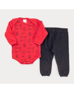 Conjunto de Frio para Bebê Menino Body Vermelho Estampado e Calça Preta