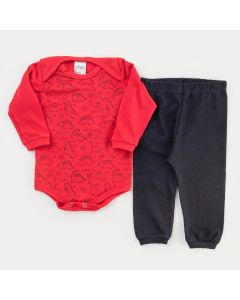 Conjunto de Frio para Bebê Menino Body Vermelho Dinossauro e Calça Preta