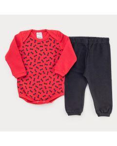 Conjunto de Frio para Bebê menino Calça Preta e Body Vermelho Ossinho