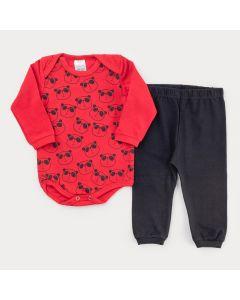 Conjunto de Inverno para Bebê Menino Body Vermelho Panda e Calça Preta