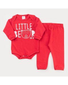 Conjunto de Inverno para Bebê Menino Body Vermelho Ursinho Calça Básica