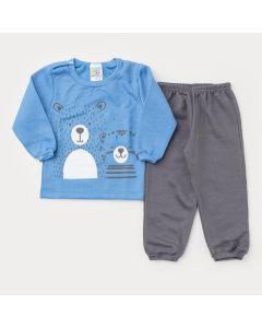 Conjunto de Inverno para Bebê Menino Casaco Azul Urso e Calça Cinza