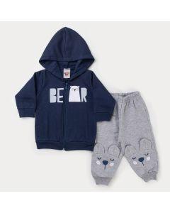 Conjunto de Frio Bebê Menino Jaqueta Marinho Urso e Calça Cinza