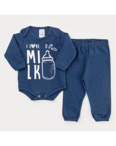 Conjunto de Frio Marinho para Bebê Menino Body Estampado e Calça Básica
