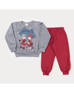 Conjunto com Casaco Cinza Bonecas e Calça Vermelha para Menina
