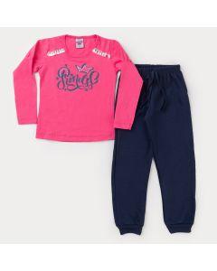 Conjunto de Frio Infantil Feminino Blusa Pink Estampada e Calça Moletom Marinho