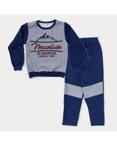 Conjunto de Moletom Infantil Masculino Blusa Cinza Estampada e Calça Marinho