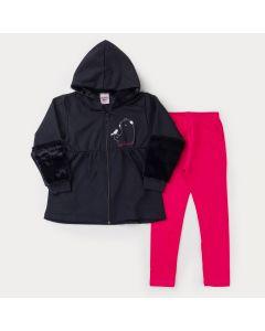 Conjunto de Inverno Jaqueta de Moletom Preta com Zíper e Legging Pink Menina
