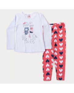 Conjunto de Frio Menina Blusa Branca Manga Longa Estampada Legging Rosa Coração