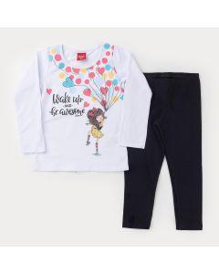 Conjunto de Inverno Blusa Branca Estampada e Legging Preta para Menina