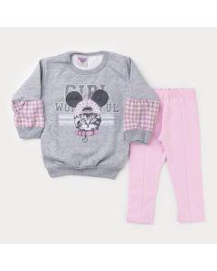 Conjunto de Frio para Menina Blusa Manga Bufante Cinza Estampada e Calça Rosa