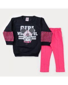 Conjunto de Frio para Menina Blusa Manga Bufante Preta Estampada e Calça Pink