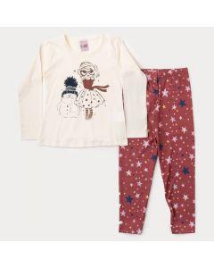 Conjunto de Frio Infantil Feminino Blusa Marfim Estampada Legging Marrom Estrela