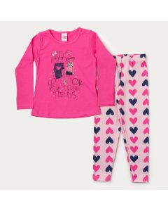 Conjunto de Frio Menina Blusa Pink Manga Longa Estampada e Legging Salmão Coração