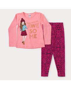 Conjunto Infantil Feminino Blusa Rosa Manga Longa Boneca Legging Pink