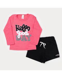 Conjunto de Moletinho para Menina Blusa Rosa Estampada e Short Preto