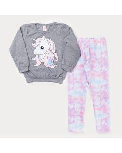 Conjunto de Inverno para Menina Casaco Cinza Unicórnio e Legging Tie Dye