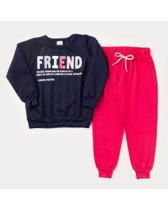 Conjunto de Frio para Menina Casaco Marinho Friend e Calça Pink