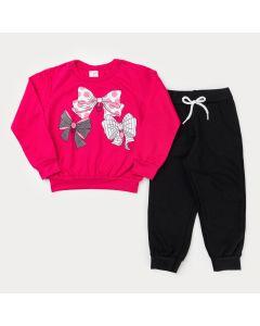 Conjunto de Moletinho Casaco Pink Laço e Calça Preta Básica para Menina