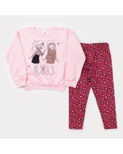 Conjunto de Frio Casaco Rosa Estampado e Legging Pink Oncinha para Menina
