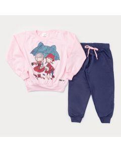 Conjunto de Frio Casaco Rosa Estampado e Calça Marinho para Menina