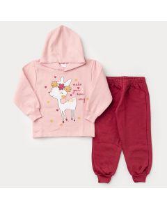 Conjunto de Moletom para Menina Blusa Rosa com Capuz Bambi e Calça Bordô