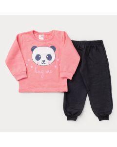 Conjunto de Moletom para Menina Casaco Rosa Panda e Calça Preta