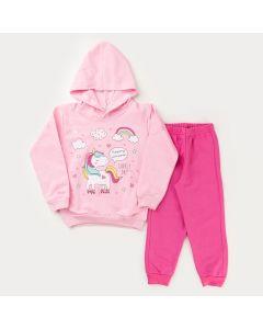 Conjunto de Inverno para Menina Casaco com Capuz Unicórnio Rosa e Calça Pink
