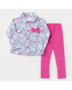 Conjunto de Inverno Infantil Feminino Casaco Azul Flores e Legging Pink
