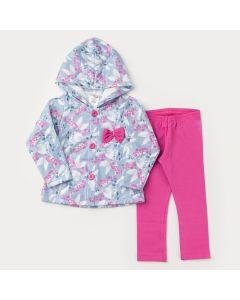 Conjunto de Inverno Menina Casaco Azul com Flores e Legging Pink