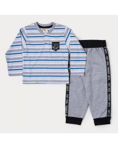 Conjunto de Frio para Menino Blusa Listrada Azul e Calça Moletom Cinza