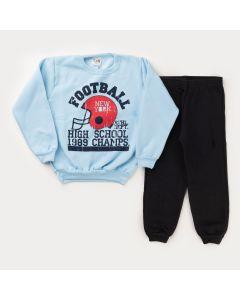 Conjunto de Moletom para Menino Casaco Azul Football e Calça Preta Básica