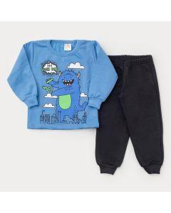 Conjunto de Moletom para Menino Casaco Azul Monstrinho e Calça Preta