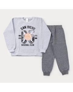 Conjunto de Frio para Menino Casaco Mescla Baseball e Calça Cinza