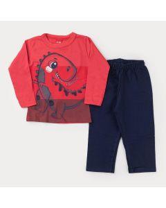 Conjunto de Inverno para Menino Blusa Vermelha Dinossauro e Calça Marinho Moletom